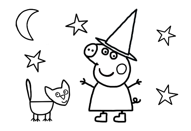 Peppa Pig Halloween Colouring Page For Preschoolers