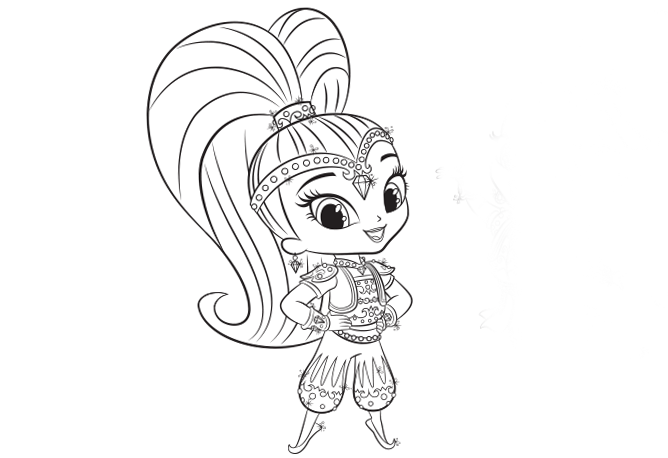 Shimmer And Shine Colouring Page